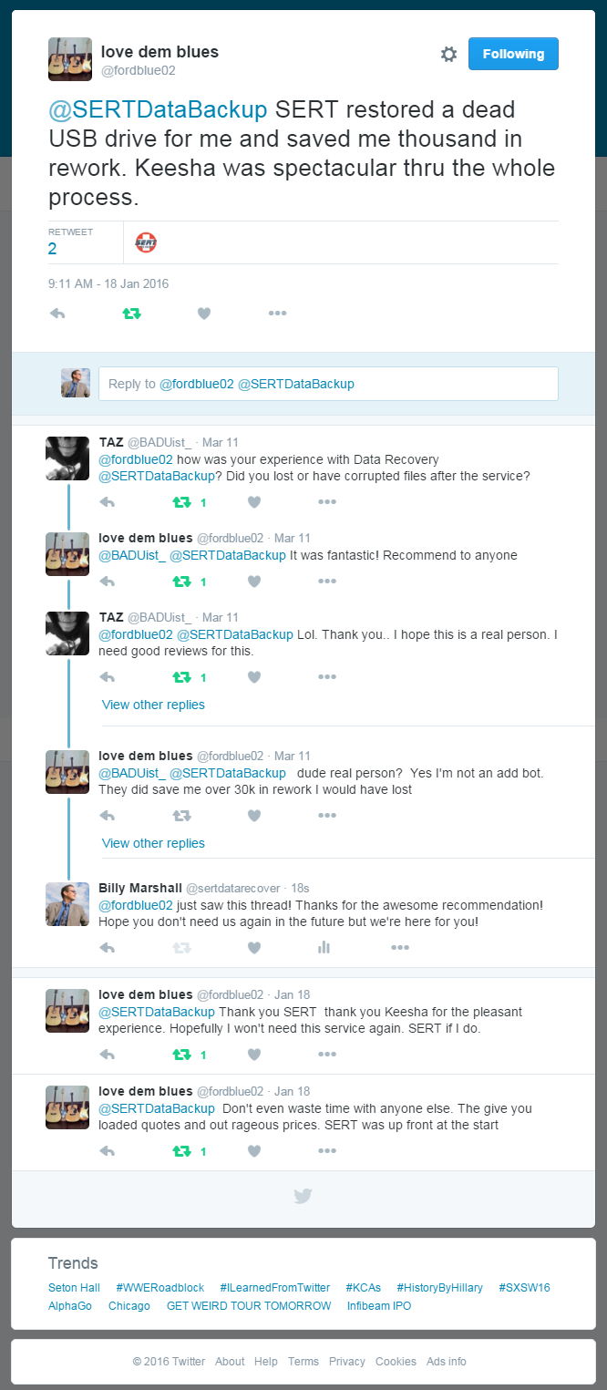 conversation between two twitter users about a successful data recovery by SERT Data Recovery