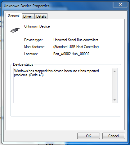hard drive not spinning unknown device error